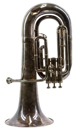 tuba: Old vintage euphonium isolated on white background