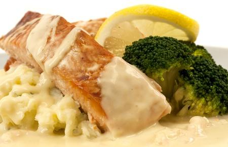 baked potatoes: Salmon with mashed potatoes, broccoli, and creamed lemon shrimp sauce