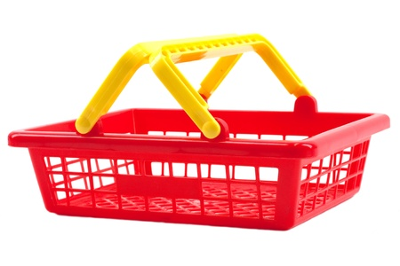 Red shopping basket isolated on white background photo
