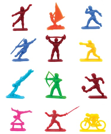 Colorful plastic sport figurines depicting activities photo