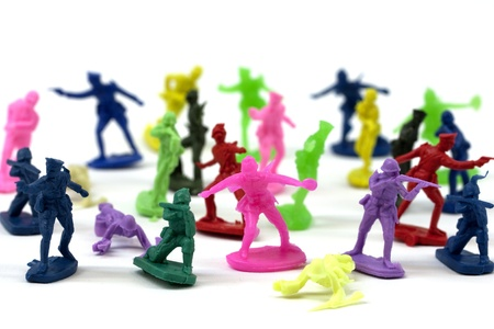 action figure: Plastic toy soldiers in many different colors
