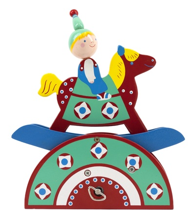 Colorful wooden music box with boy on rocking horse