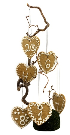 Christmas calendar decoration with numbered gingerbread cookies Stock Photo - 16063473