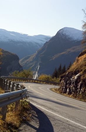 Curvy steep road to Geiranger photo