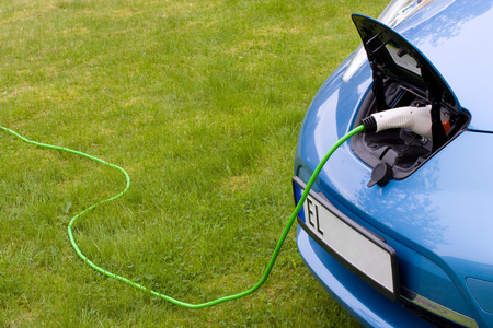 Charging a modern electric car Stock Photo