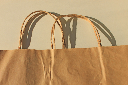 Disposable bags of kraft paper isolated, eco style living. A new paper bag concept: ecological, economical, versatile and functional. Standard-Bild