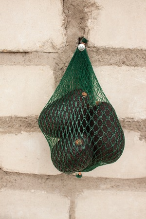 Fresh organic avocados in a green string bag on a brick wall background, creative healthy food concept, copy space. Eco lifestyle, how to choose fruits and vegetables. Shopping, market.