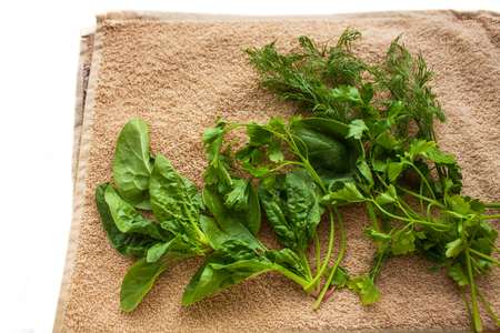 Washed fresh greens on the kitchen towel, healthy lifestyle, eco friendly, raw, vegan background, vegetables diet, copy space, flat lay.
