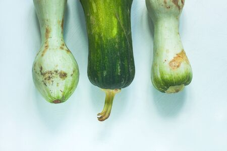 Ugly food concept. Unusual shaped zucchini with mold, scar-like structure, scratches. Organic deformed green courgette vegetable on a white background. 版權商用圖片 - 131482353
