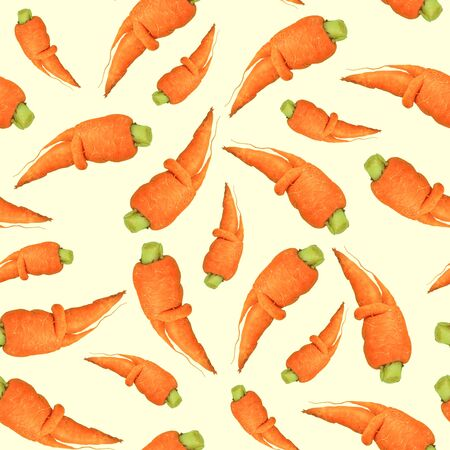 Orange carrots seamless pattern on light background made of photography,top view.Raw vegetables and fruits, vegan, ugly food concept,flatlay. Abstract wallpaper. Decorative natural design for textile.