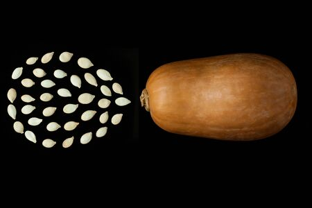 Pumpkin with seeds in a drop shape on a black background. Cloud silhouette. Creative minimalism, dark and moody food photography. Copy space, squash top view, flat lay. Halloween concept.
