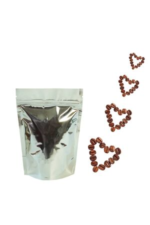 Metallized pouch bags with heartshaped coffee beans front view isolated on a white background.Packaging for foods and goods template mockup.Packs with clasps and windows for tea leaves,weight products