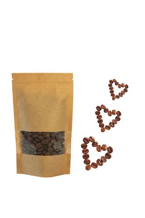 Brown kraft paper pouch bag with heartshaped coffee beans front view isolated on a white background. Packaging for foods template mockup.Packs with clasps and windows for tea leaves, weight products.
