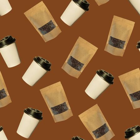 Seamless pattern of paper cups and pouch bags with coffee beans isolated on a brown background. Coffee to go, take away drinks concept, mockup for your brand name. Stock Photo