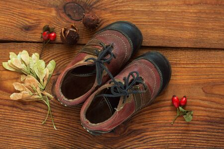Leather kids boots with colorful fall leaves and berries on a wooden background top view with copy space. City walks concept, autumn outwear and shoes for cold weather. Hygge flatlay.