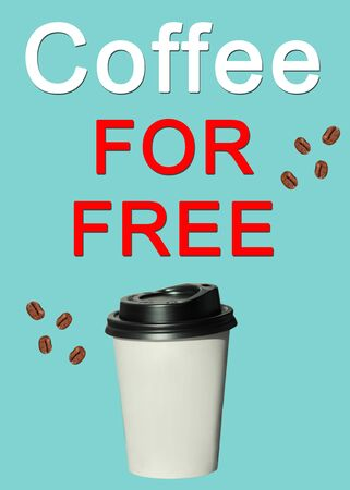 Coffee for free text, sign. Paper cup with hot coffee to go isolated on a light blue pastel background.Take away drinks sale, fast food stock. Copy space,mockup for your brand name,space for price tag