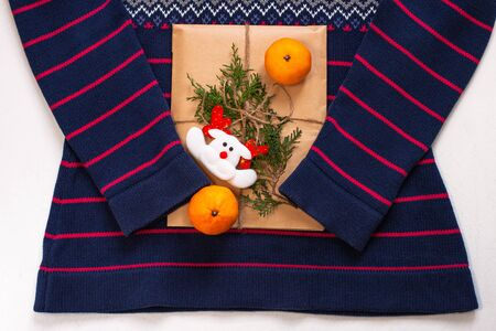 New year 2020 flatlay. Christmas blue and pink ornamental sweater, gift box in eco kraft paper,pine tree.Winter holidays