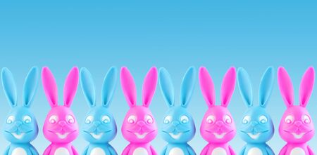 Funny colorful bunnies on blue background. Easter banner,web site header. Pink and blue rabbits in creative minimal style.Advertising design.A couple of cute hares on trendy color backdrop. Copy space Standard-Bild