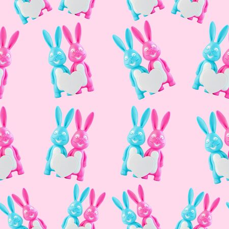 Pink and blue rabbits easter pattern. Cute bunnies set for fabric design, happy lovers couple with heart on white background isolated. Creative minimal banner, Valentine's day card,family love concept