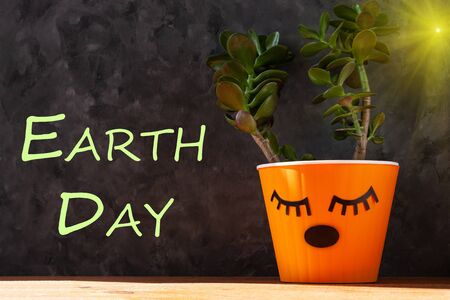 Happy Earth Day April 22, message sign greeting on green succulent background in orange pot. Creative plant in form of reindeer horns.Growing tree, ecology concept. Saving environment, save our planet