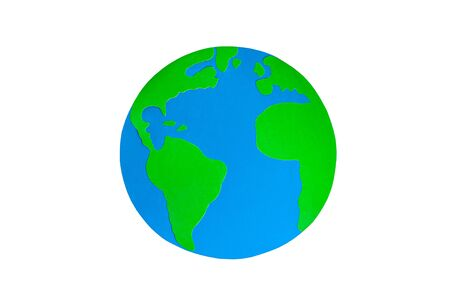 Paper craft Earth globe handmade on white background isolated. Blue oceans, green continents on the planet. Earth day concept. Mocup, copy space, clipart. Ecology global problem,saving the environment
