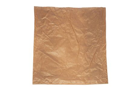 Brown kraft paper recyclable bag on white background isolated flat lay. Say no to plastic. Eco friendly bag for food. Stock Photo
