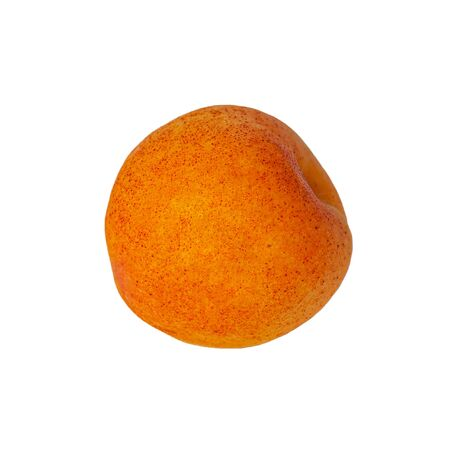 Apricot isolated on white background. Healthy food clipart for product design and patterns. One orange color fruit isolate front view.