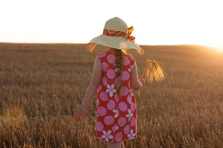 Adorable little girl in a straw hat and pink summer dress in wheat field. Child with long blonde hair on sunset on a countryside landscape with bunch of spikelets in hands. Farming agriculture concept Archivio Fotografico