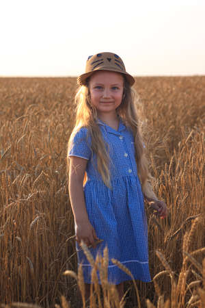Adorable little girl in a straw hat and blue plaid summer dress in wheat field. Child with long blonde wavy hair on countryside landscape with spikelet in hand. Farming agriculture harvesting concept.