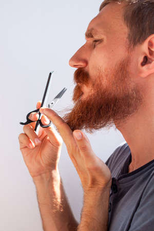 Adult man cutting his own beard and mustache with scissors and comb. Caucasian red bearded male trimming hair on face at home. Do it yourself self-made haircut. Selfcare DIY during quarantine isolation