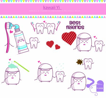Teeth toothbrush toothpaste white dental floss Digital Clip Art Graphics