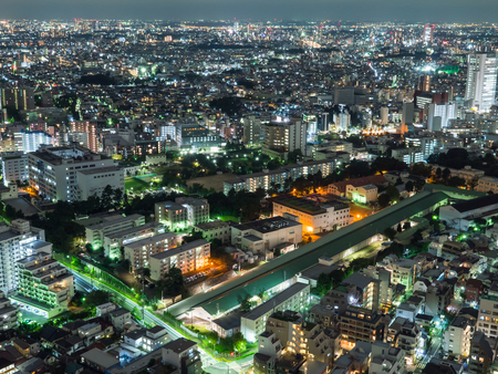 Observation room night view in Japan