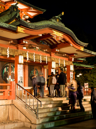 At the shrine Night view in Japan New Years Day