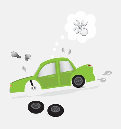 zarar: kırık araba ve araç hasar Çizim