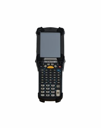 Handheld and laser barcode scanner reader. Isolated on white background.
