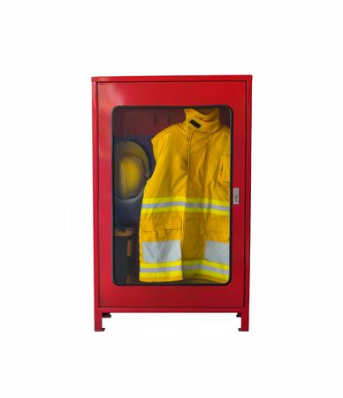 Fire extinguisher There is a yellow fire. Hats and safety shoes on the white background. Use fire protection. Heat shield For firefighters. Stock Photo