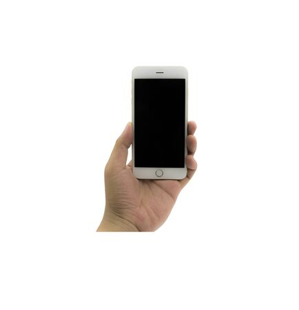 Smartphone with black screen on the White Blackground. Currently used phones for unlimited global communications. This is convenient because it can be used online through the world. Reklamní fotografie