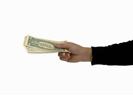 money on hand holding isolated on white background