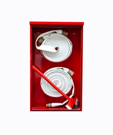 Red fire hose cabinet. There is a fire hose length of several meters in white color. With an ax to break the cabinet in an emergency. When there is a fire incident, use to extinguish the fire.
