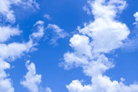 The blue sky has white clouds clean and dazzling in the air. Bright atmosphere beautiful sky. With free space in the air. When looking at the sky the blue felt strong.