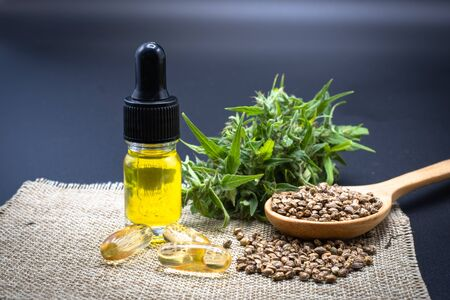 The leaves, seeds, bottles of hemp oil and CBD tablets, black background. The concept of medical marijuana in the treatment of diseases. There is a cycle of cannabis used, namely refined CBD hemp oil. Reklamní fotografie