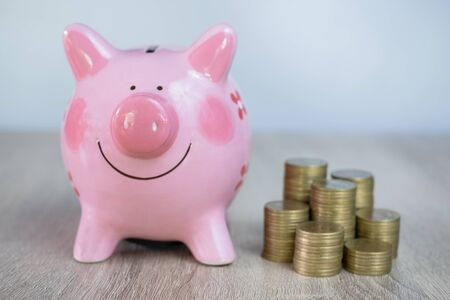 Pink pig piggy bank and fund concept for saving Storing investment, education and future investment, earning income to be used when needed.