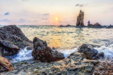 jurassic coast: sunset on the Jurassic Coast Stock Photo
