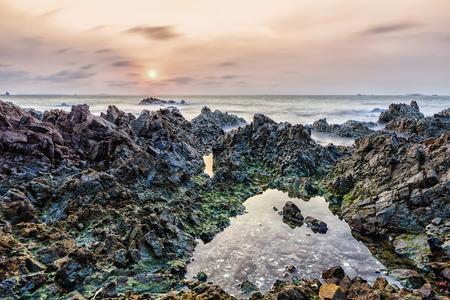 jurassic coast: Rock pools on the Jurassic Coast Stock Photo