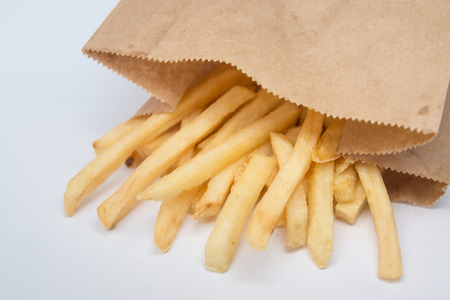 French fries in paper bag photo