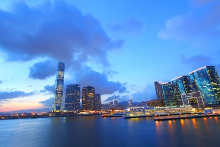 Hong Kong sunset view at Kowloon district photo