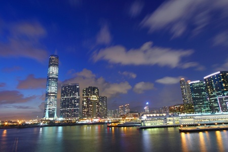 Hong Kong skyline at dusk photo