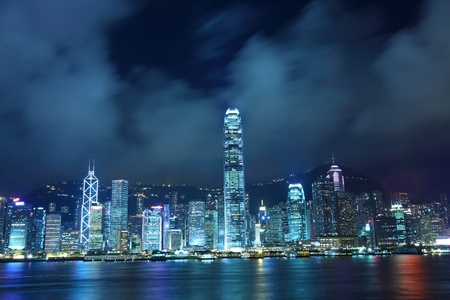 hong kong harbour: Hong Kong skyline in cyber toned at night