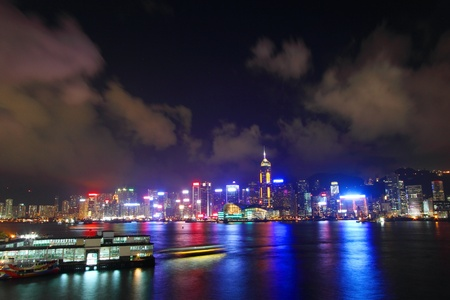 Hong Kong harbour at night time Stock Photo - 10714337