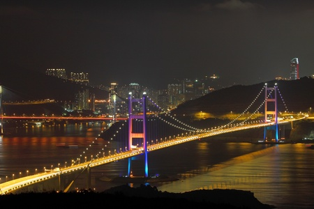 Tsing Ma Bridge at night in Hong Kong Stock Photo - 10714333